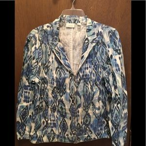 Chico's Ikat Print Zip Front Jacket Size 2 Large